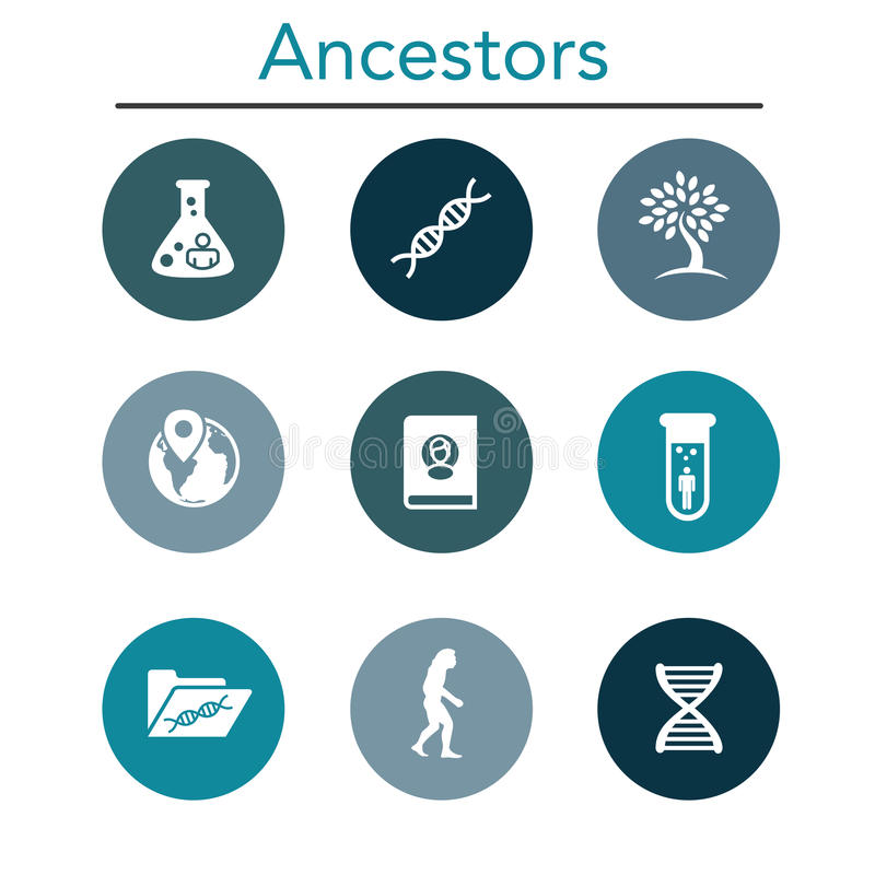 Ancestry or Genealogy Icon Set with Family Tree Album, DNA. Beakers, chemical family record, etc stock illustration