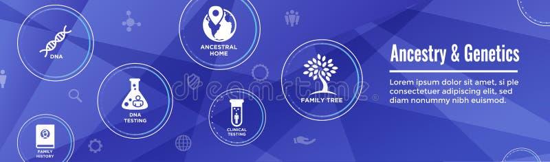 Ancestry or Genealogy Icon Set web banner w Family Tree Album, f. Ancestry / Genealogy Icon Set web banner with Family Tree Album, family record, etc stock illustration