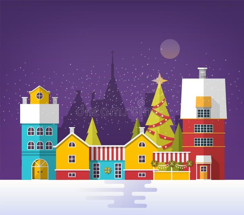 Anche il paesaggio urbano di inverno con la vecchia città, città o villaggio Paesaggio urbano di Snowy con le costruzioni e gli a royalty illustrazione gratis