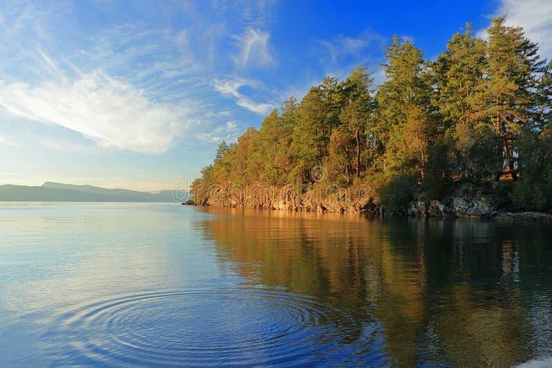 Anche luce su Roe Island sull'isola di Pender, parco nazionale delle isole del golfo, Columbia Britannica immagini stock