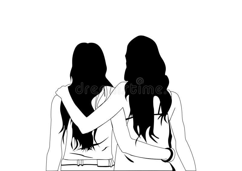 Anche un abbraccio amichevole può essere caldo illustrazione vettoriale