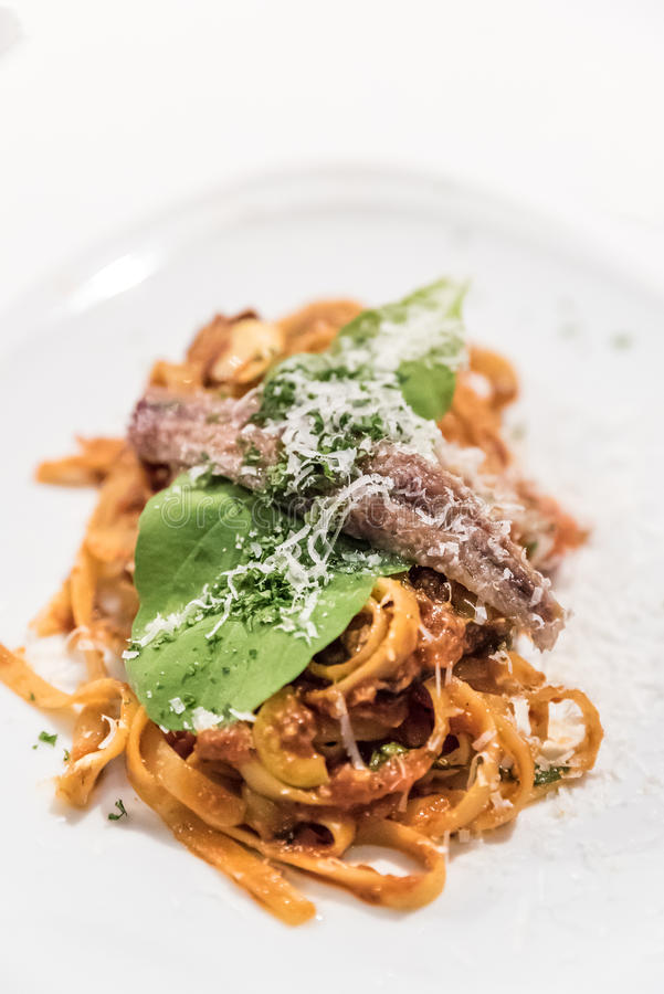 Anchois de spaghetti images stock