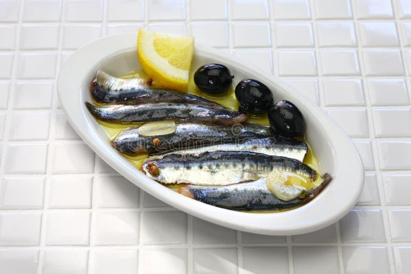 Anchois marinés, nourriture espagnole de tapas image stock