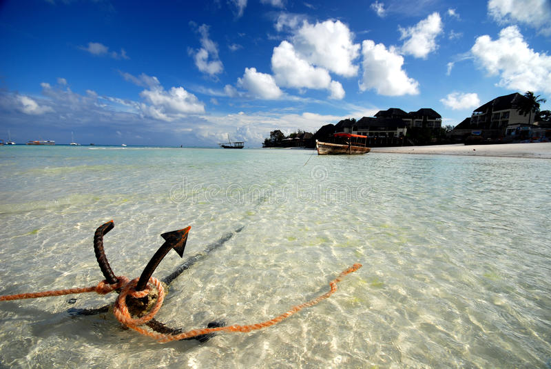 Anchor. Holding a boat in the beach of Zanzibar from drifting away