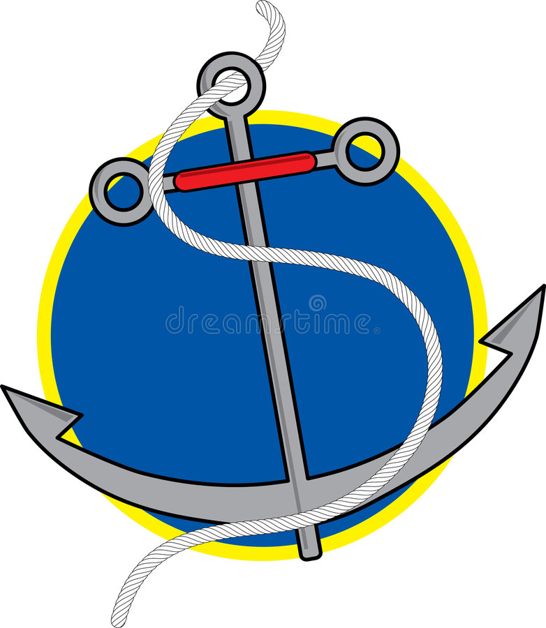 Anchor. Ship's Anchor with rope on blue background stock illustration