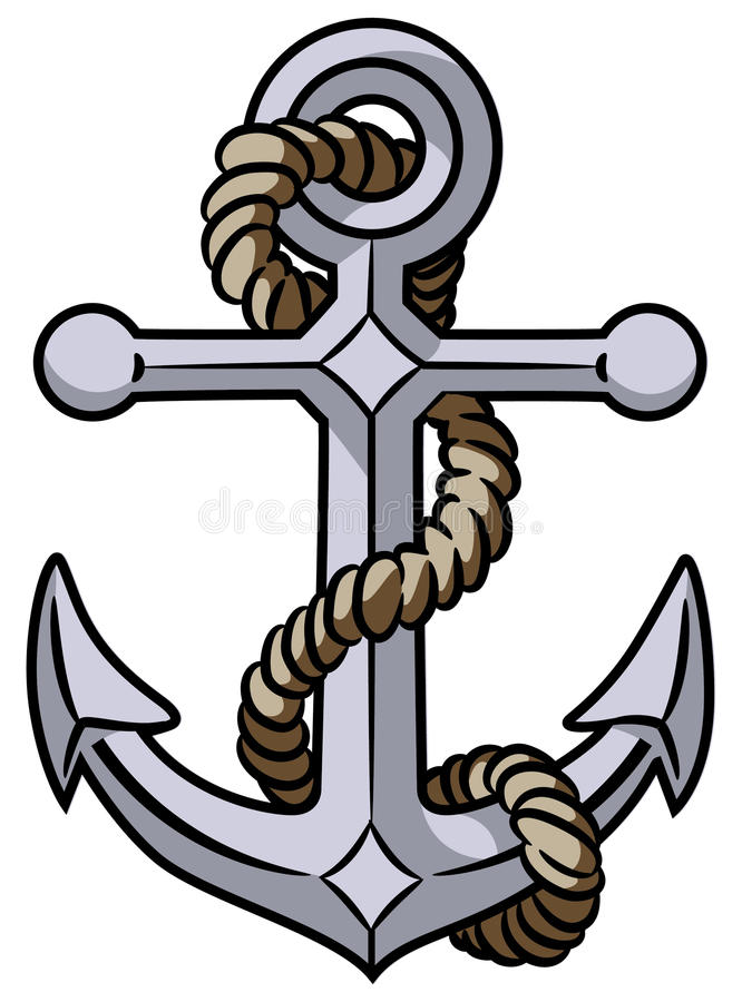 Anchor. Vector illustration of anchor and rope