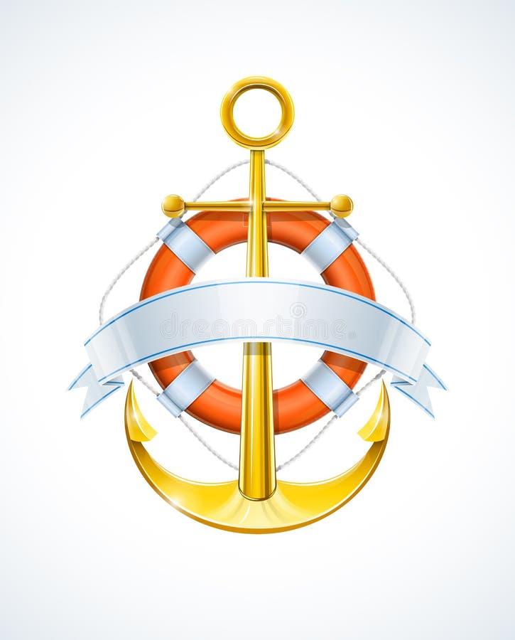 Free Anchor And Life Buoy With Ribbon Royalty Free Stock Photo - 22554715