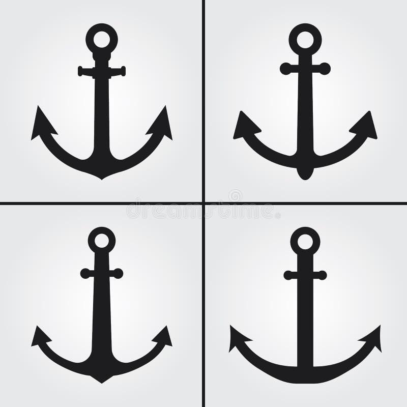 Anchor Antique Simple Vector Icons royaltyfria bilder
