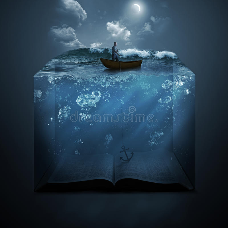Anchor and Bible. A man throws an anchor down to the bottom of the ocean floor, which is a book