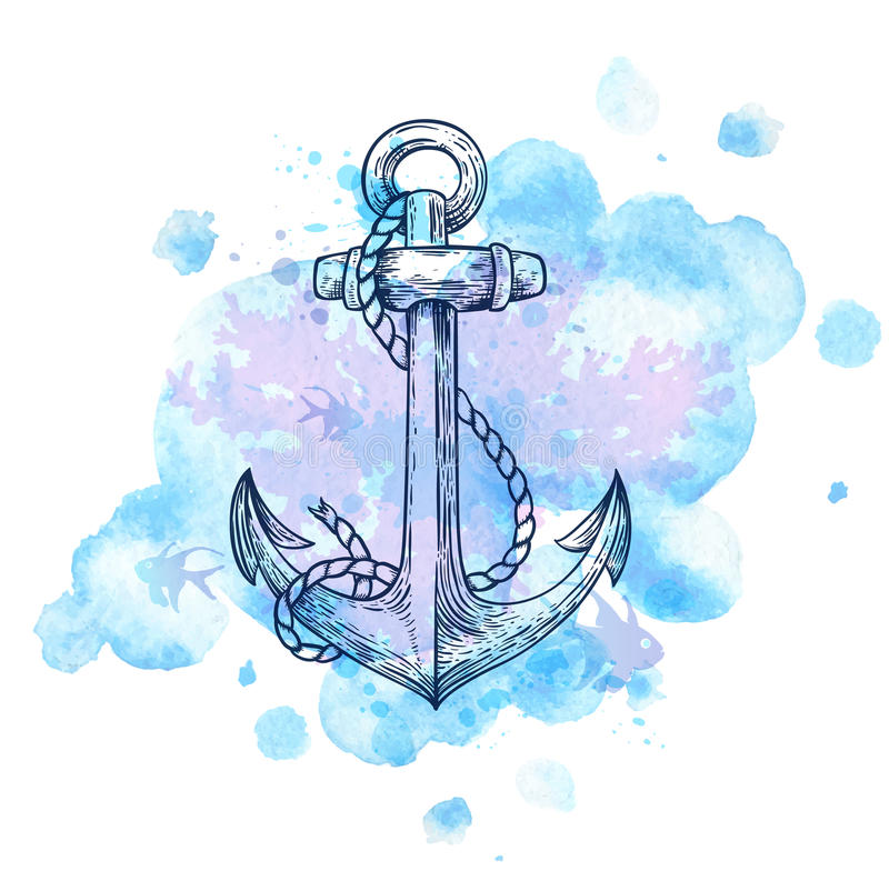 Anchor and blue watercolor blots. Vintage hand drawn vector anchor and blue watercolor blots vector illustration