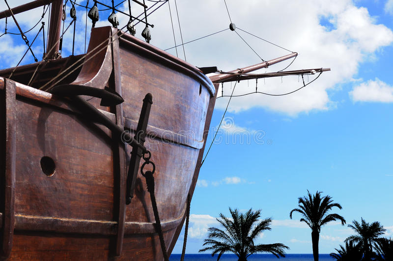 Anchor boat. With Palm trees in the front stock image
