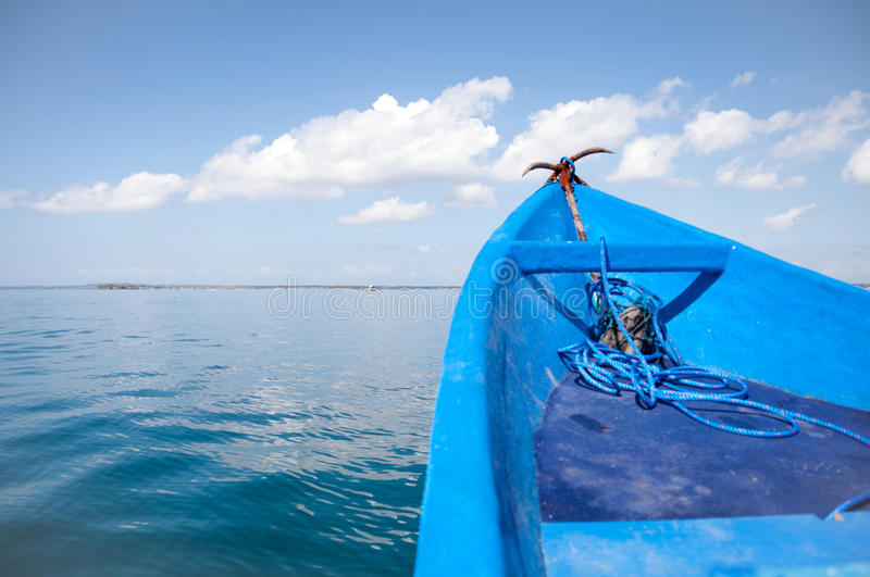 Anchor Boat Landscape. Anchor on a boat from Lombok , Indonesia stock photo