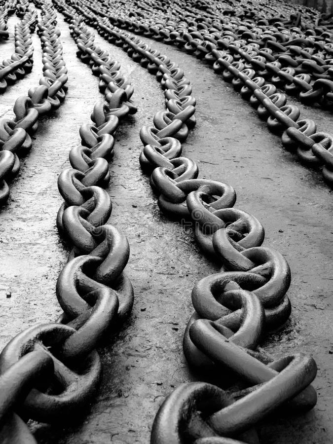 Anchor chain. Marine anchor chain on the floor after painting stock images