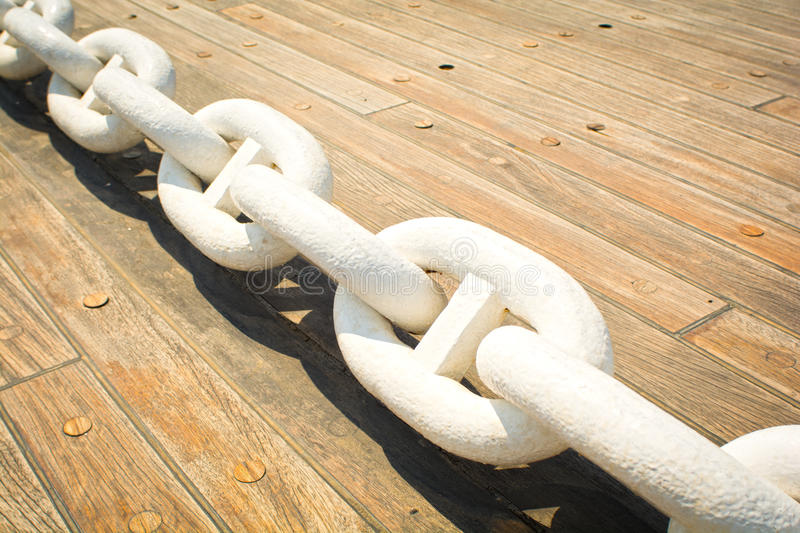 Anchor chain. Close up view of an anchor chain on the deck royalty free stock photography