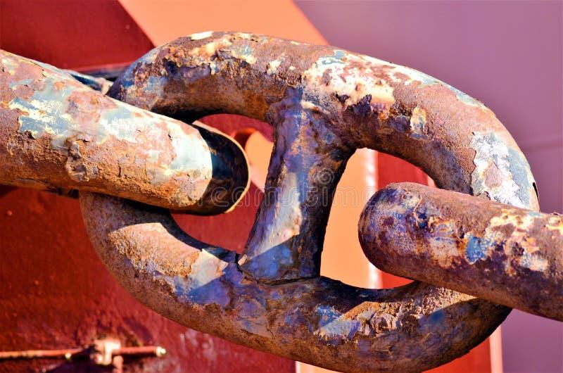 Anchor chain link of cargo ship anchor. stock photos