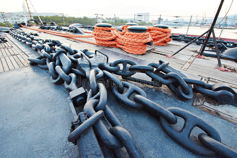 Anchor chain on ship deck. Anchor chain on a ship deck stock photography