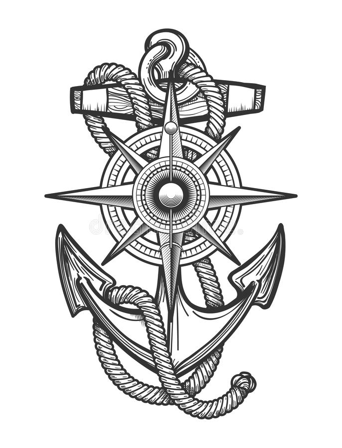 Anchor with Compass Engraving Illustration. Anchor with ropes and Nautical vintage compass drawn in engraving style. Vector illustration royalty free illustration
