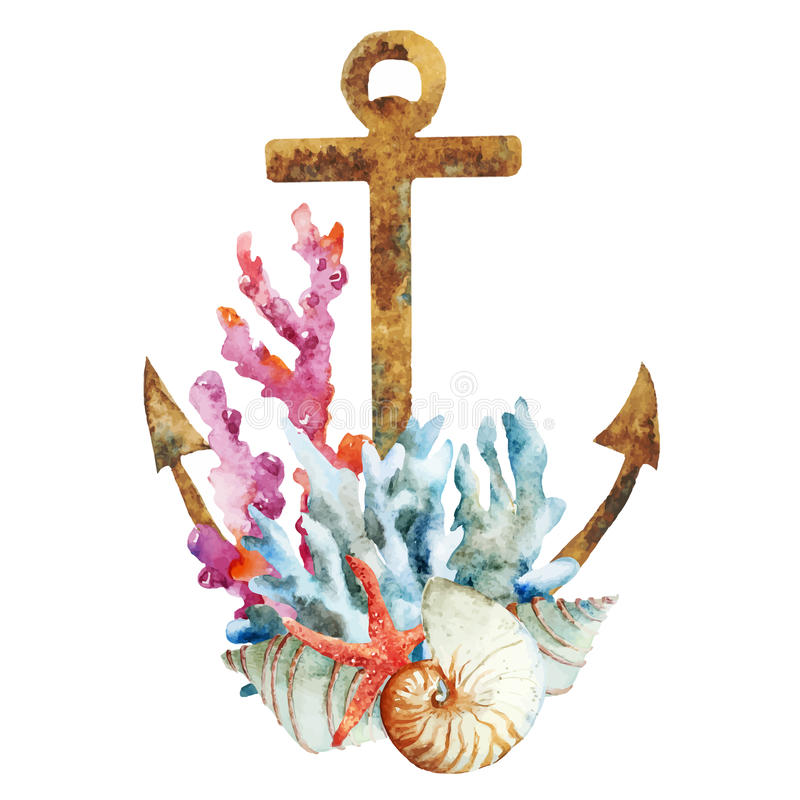 Anchor with corals. Beautiful vector image with nice watercolor anchor with corals
