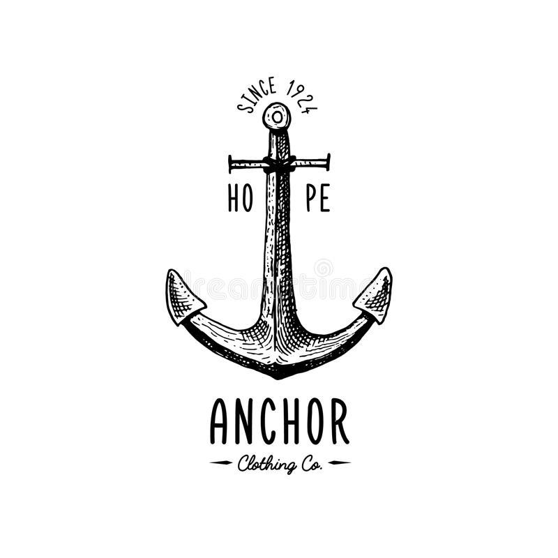 Anchor engraved vintage in old hand drawn or tattoo style, drawing for marine, aquatic or nautical theme, wood cut, blue. Logo vector illustration
