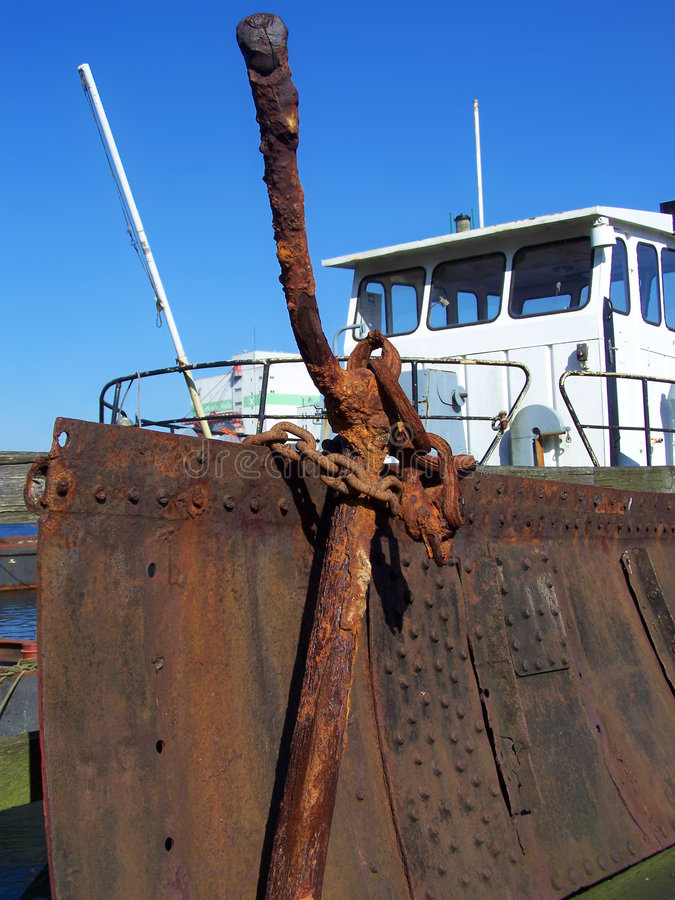 Anchor in front of a boat stock photo