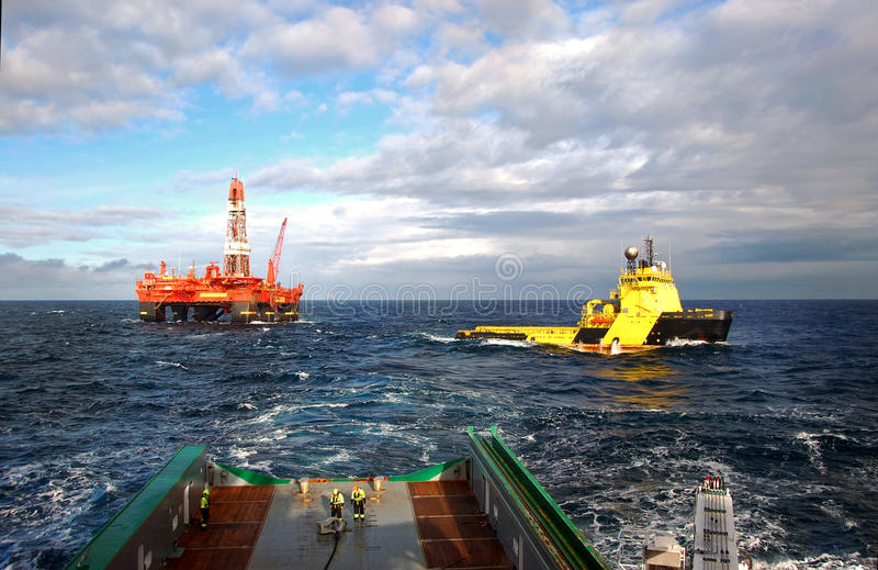 Anchor handling of Semi submergible in North Sea royalty free stock image