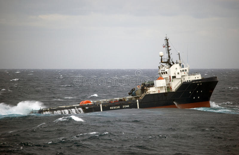 Anchor handling of Semi submergible in North Sea stock photo
