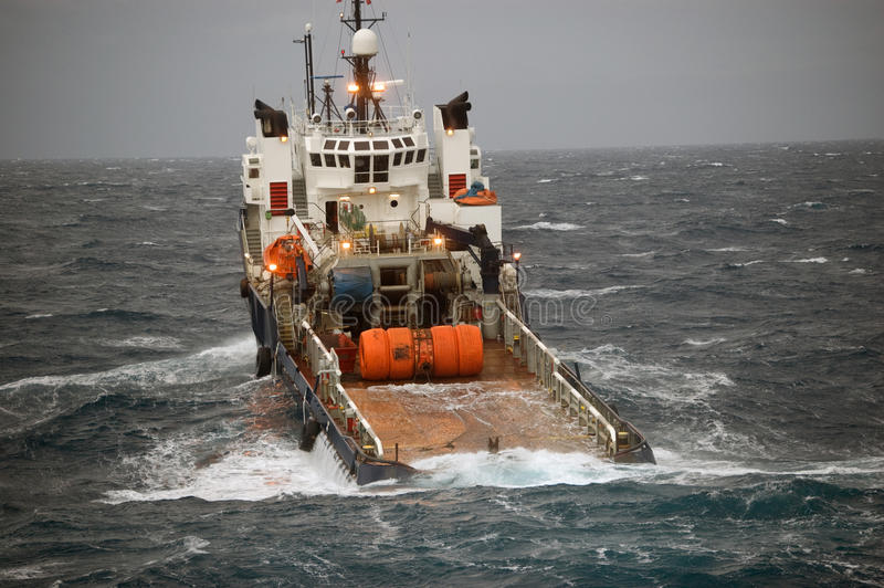Anchor handling of Semi submergible in North Sea stock photos