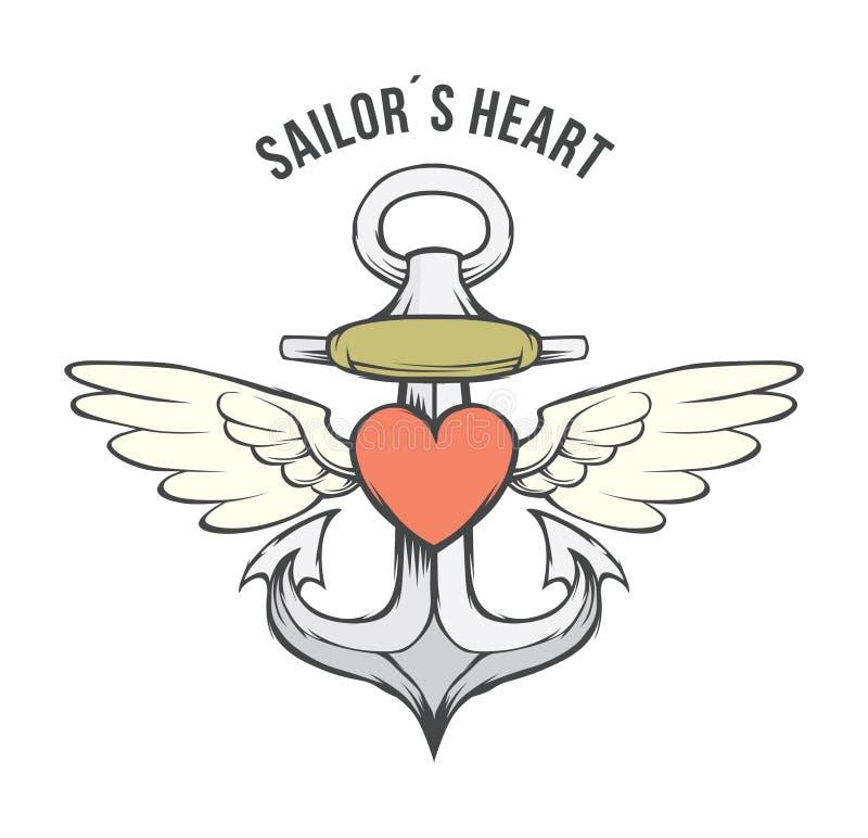 Anchor heart vector– stock illustration file stock illustration