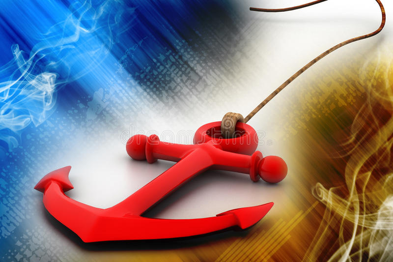 Anchor. Highly rendering of anchor in white background vector illustration