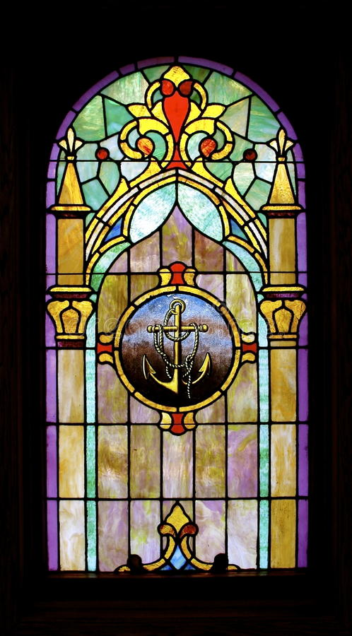 Download Anchor Image Stained Glass-Full Pane:  Isolated Stock Images - Image: 26488914