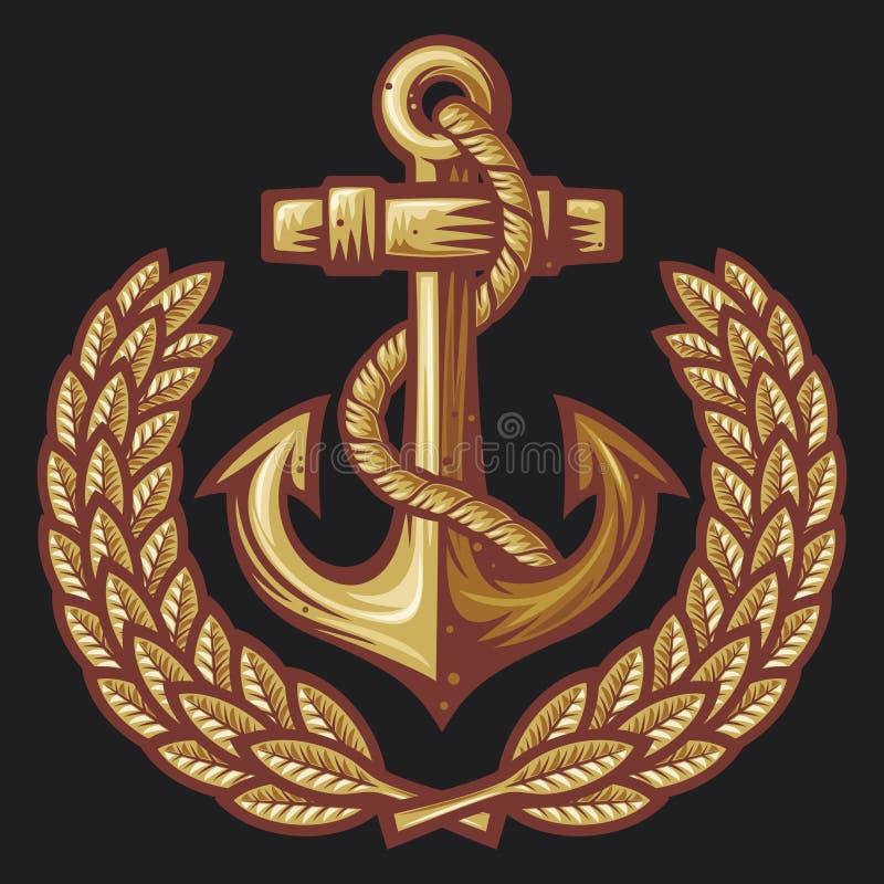 Anchor and laurel wreath badge vector illustration