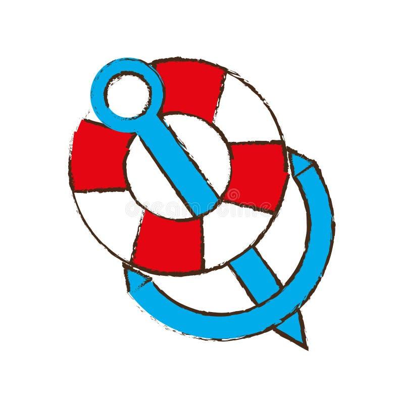 anchor life buoy boat travel color sketch stock illustration