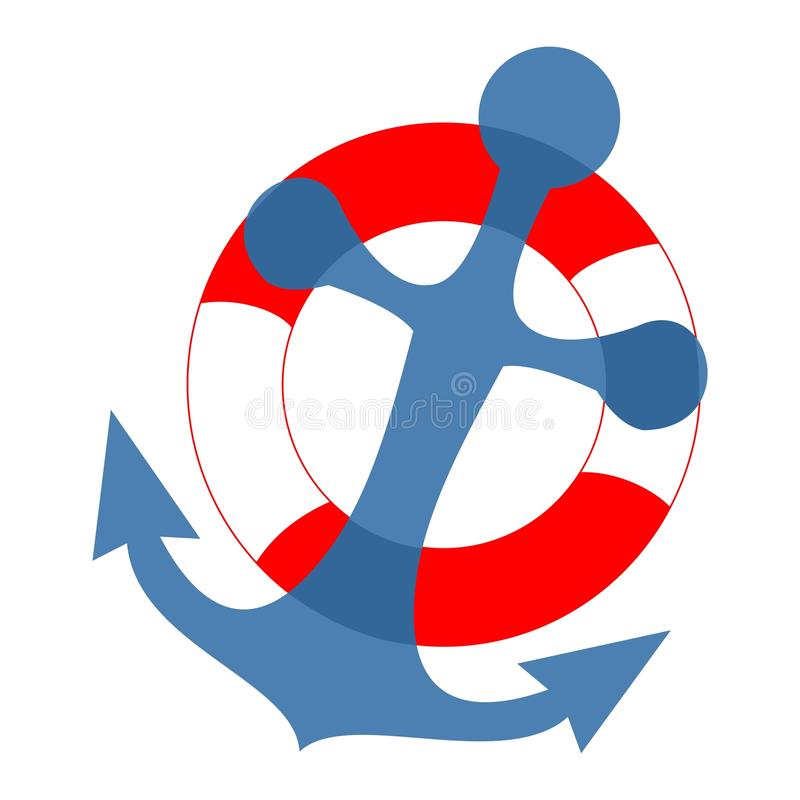 Anchor and life buoy, banner, vector icon stock illustration