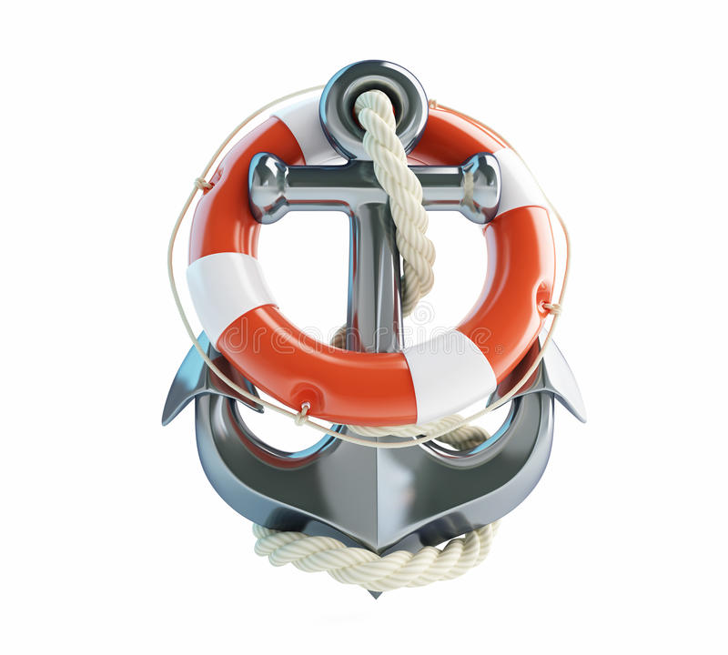 Anchor and Life Buoy stock illustration