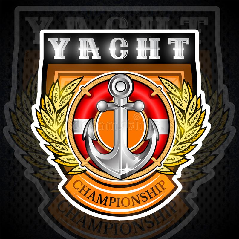 Anchor with lifebuoy in the middle of golden laurel wreath on the shield. Sport logo for any yachting or sailing team vector illustration