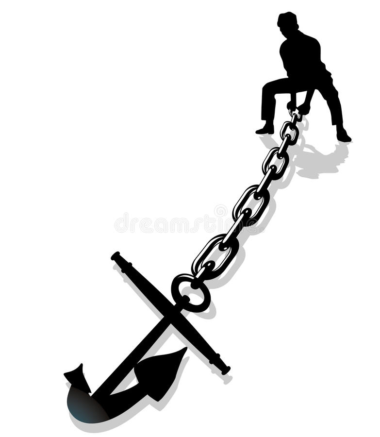 Anchor lifting. Heavy anchor lifting, boats moored royalty free illustration