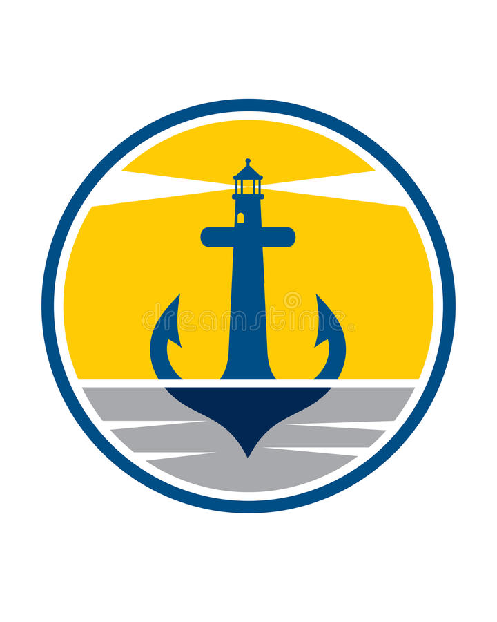 Anchor Lighthouse. EPS Easy Editable, Jpeg High Resolutions royalty free illustration