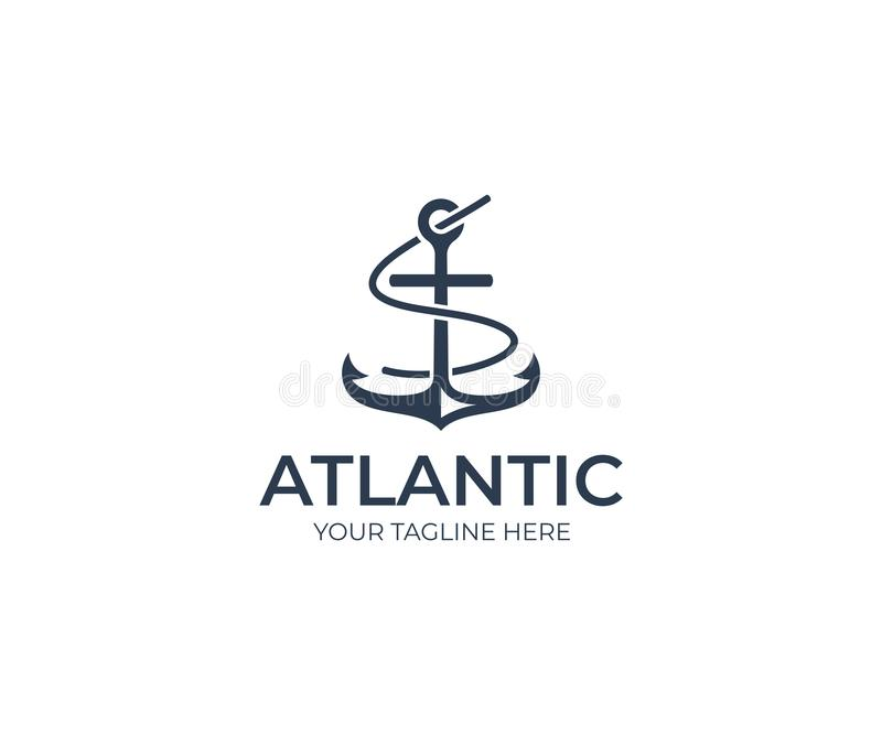 Anchor Logo Template. Marine Vector Design royalty free illustration