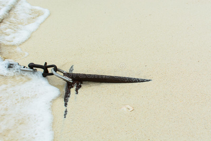 Anchor for long tail boat. In sand royalty free stock images