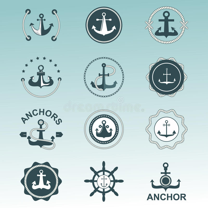 Anchor Nautical Symbols Vector Badges Stock Vector Illustration