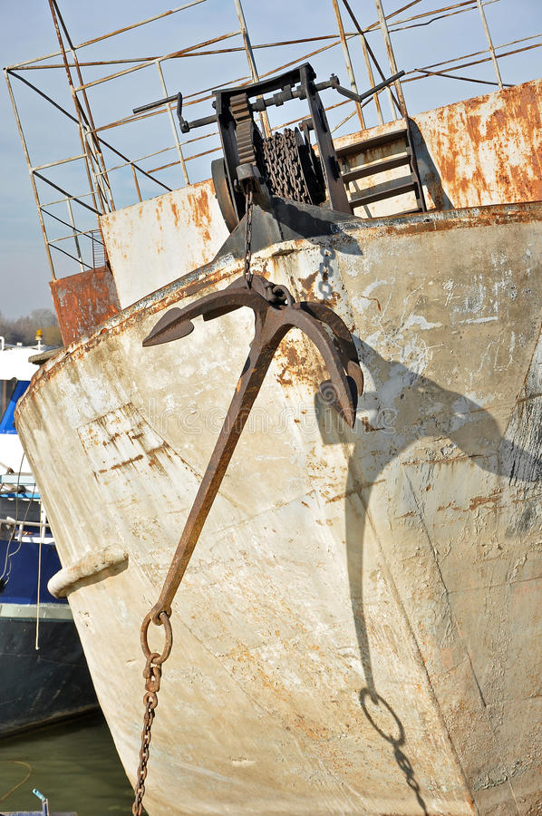 Anchor on the old boat royalty free stock images