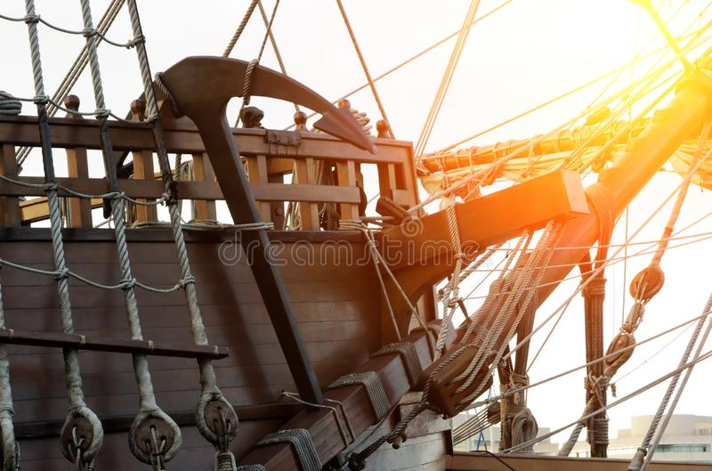 Anchor old boat scenes sunset. Anchor in old frigate boat in scenes sunset concept stock image