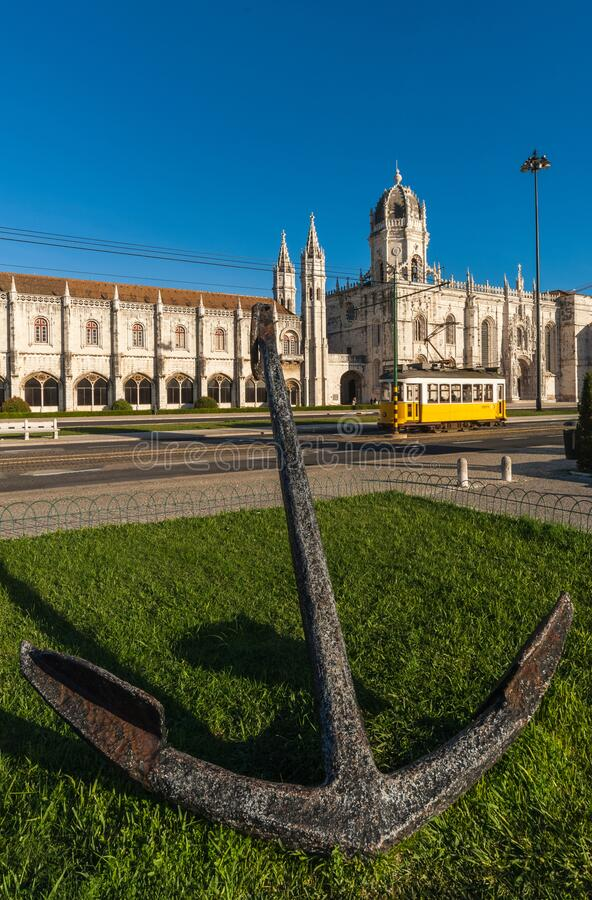 Anchor opposite the Archeological Museum in Belem Lisbon as tram passes royalty free stock images