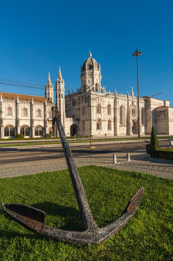 Anchor opposite the Archeological Museum in Belem Lisbon royalty free stock photos