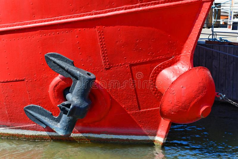 Anchor on a red boat royalty free stock images
