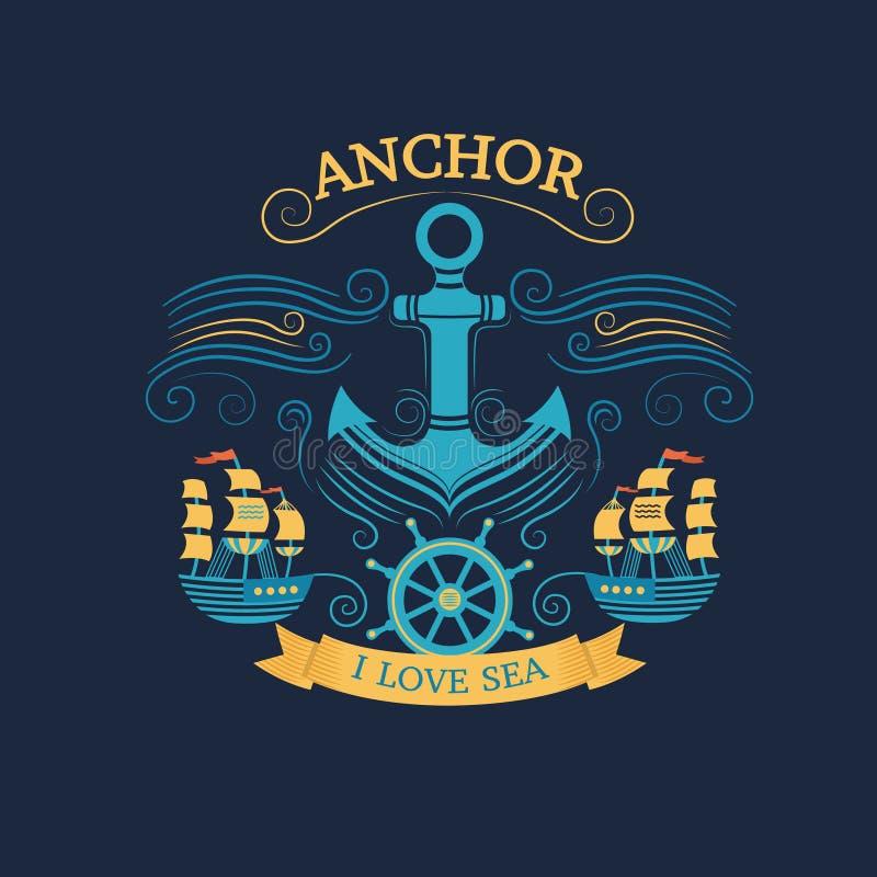 Anchor retro style vector illustration