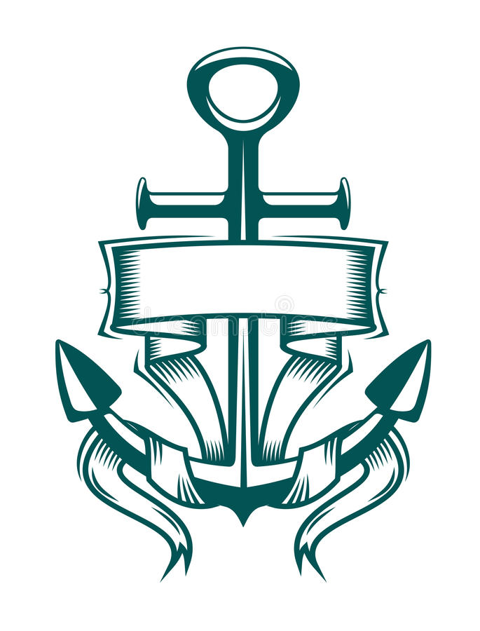 Anchor with ribbon vector illustration
