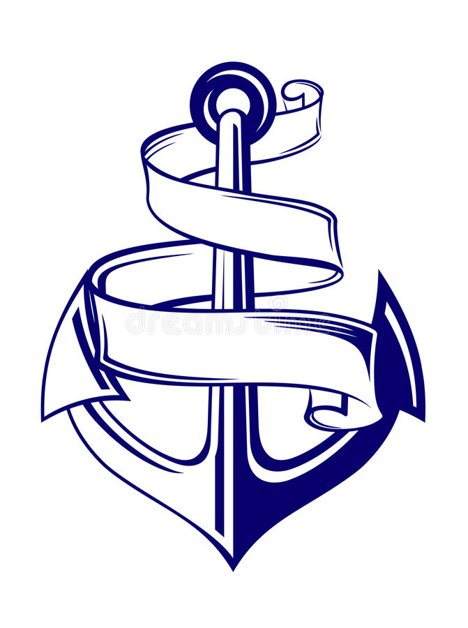 Anchor with ribbon royalty free illustration