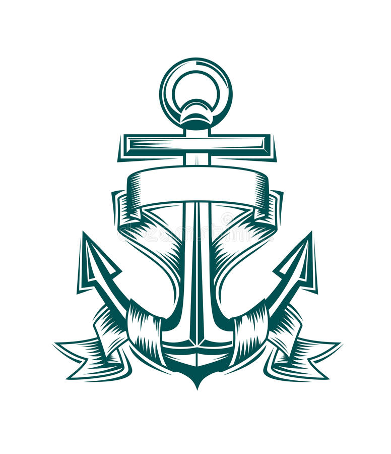 Anchor with ribbons royalty free illustration