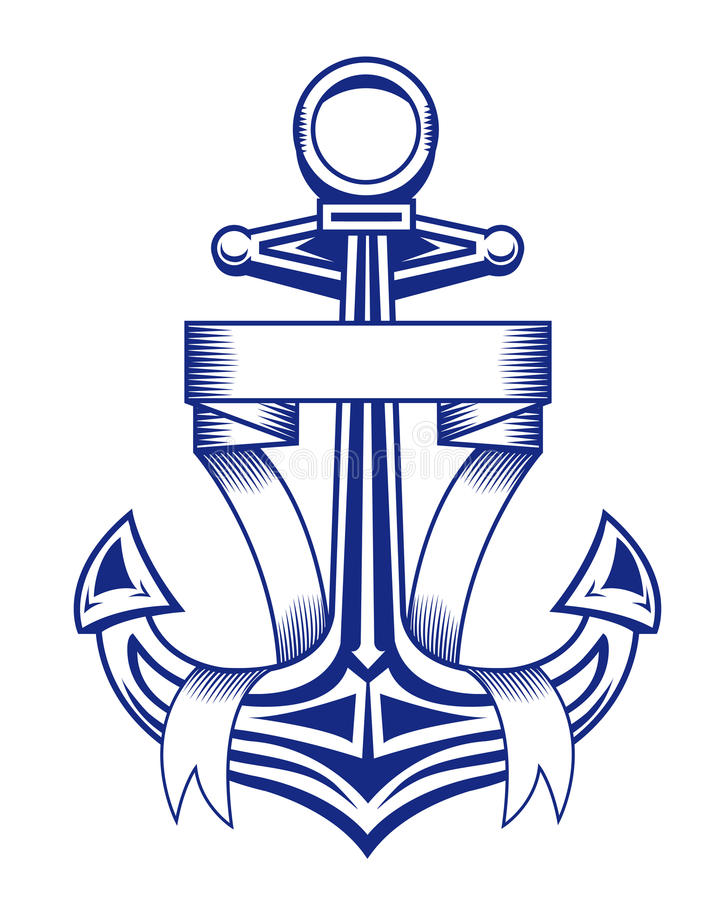 Anchor with ribbons vector illustration